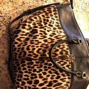Tory Burch Ivy leopard slouchy satchel / wallet